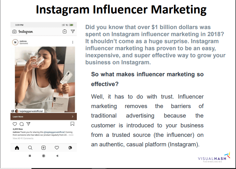 Instagram influencer marketing Business- visualhash.tech
